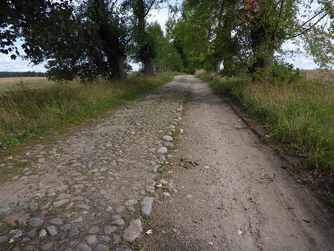 Feldweg Polen mit Kopfsteinpflaster