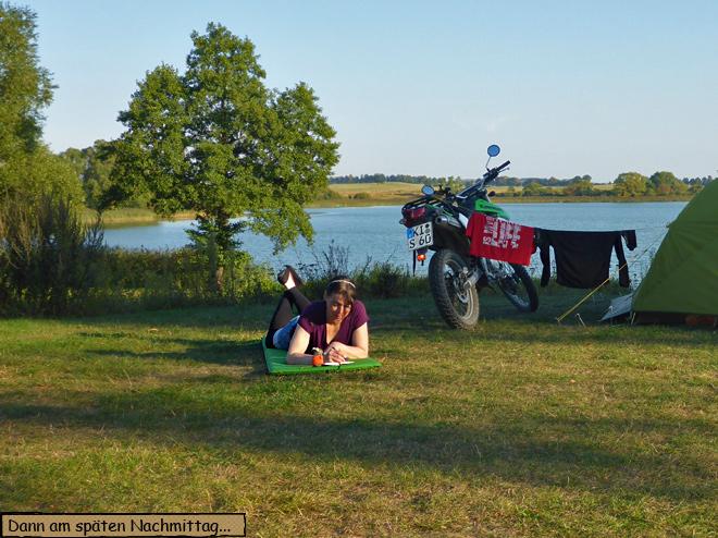 Campingplatz Motorrad Zelt