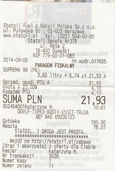 Statoil Polen Quittung