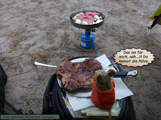 Zelt Pieps Fleisch Steak braten