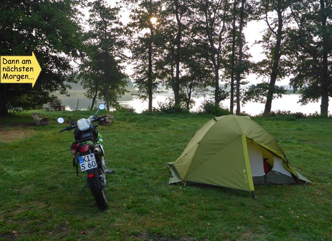 Zelt Motorrad Sonnenaufgang