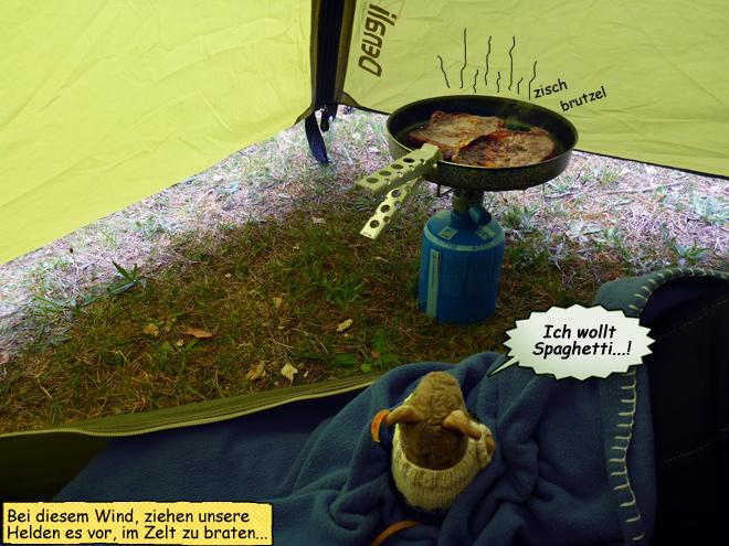 Fleisch braten im Zelt