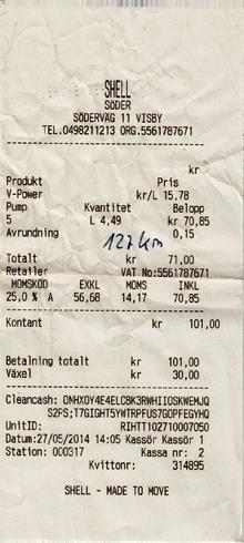 Tankquittung Shell Schweden Visby