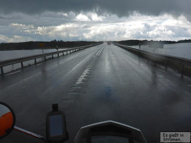 Mälaren Regen Motorradfahren