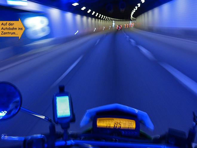 Stadtautobahn Tunnel Göteborg Motorrad