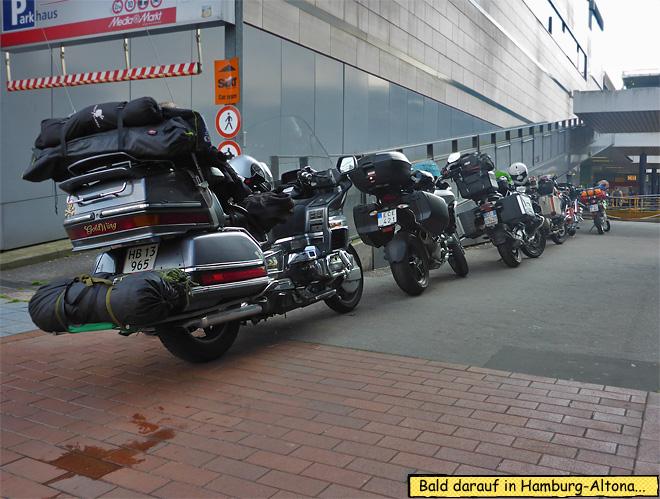 Hamburg Altona Motorrad Autozug Verladung