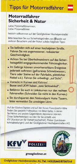 Großglockner Mautkarte