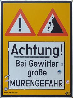 Murengefahr Warnschild