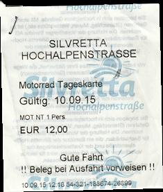 Silvretta Hochalpenstraße Motorrad Tageskarte