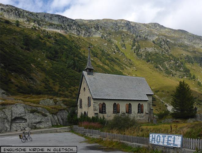 Die alte englische Kirche in Gletsch