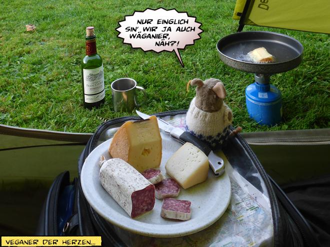 Käseraclette im Zelt