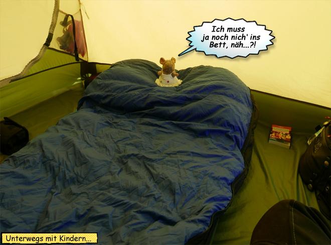 Pieps Schlafsack im Zelt
