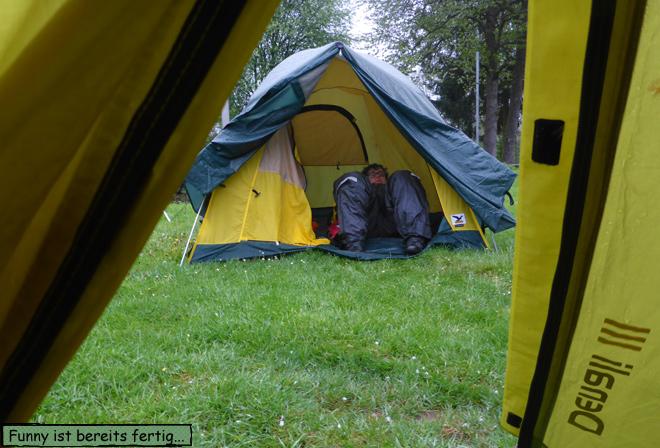 Zelt bei Regen