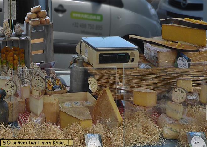 Wochenmarkt Florenville Käsestand