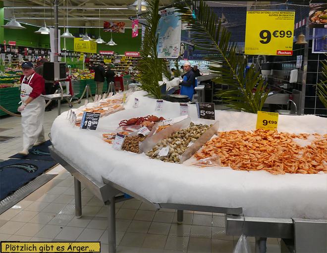 Fischhändler Fischabteilung Supermarkt