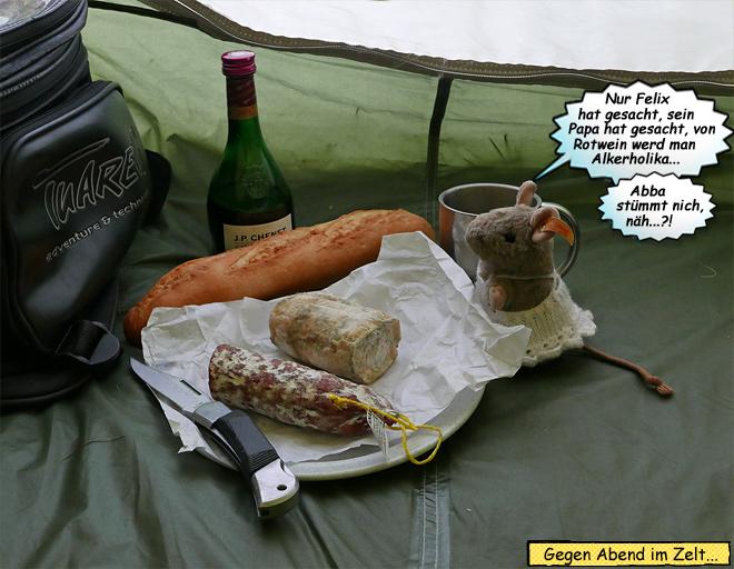 Käse und Wein im Zelt