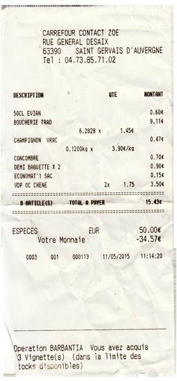 Kassenbon Frankreich Lebensmittelpreise