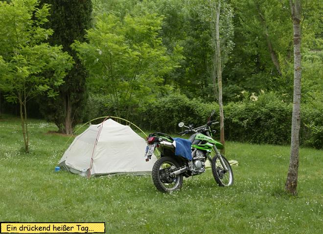 Zelt und Motorrad nur Innenzelt