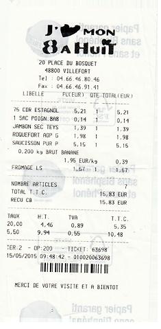 Kassenbon Frankreich Benzinpreis
