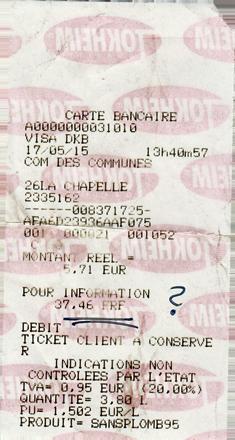 Kassenbon Frankreich