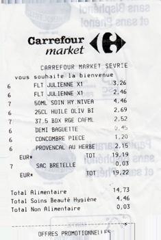 Carrefour Kassenbon Frankreich
