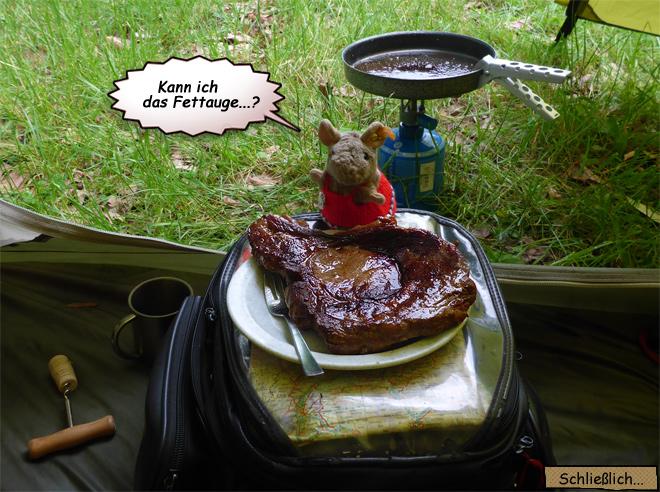 Ochsenkotelett im Zelt