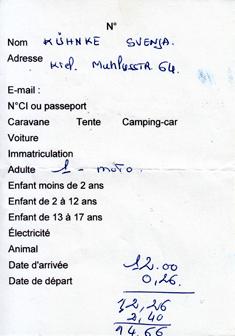 Camping Rechnung Preis Frankreich
