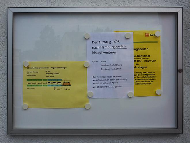 Bahnhof Lörrach Autozug 2015 Streik GDL