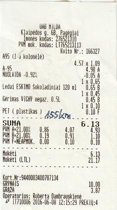 Litauen Benzinquittung