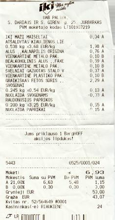Litauen Quittung Supermarkt