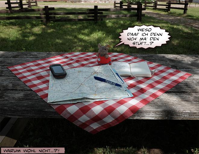 Landkarte auf Picknickdecke