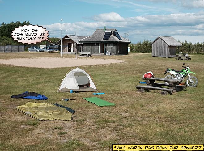 Camping Pukarags Lettland Motorrad und Zelt