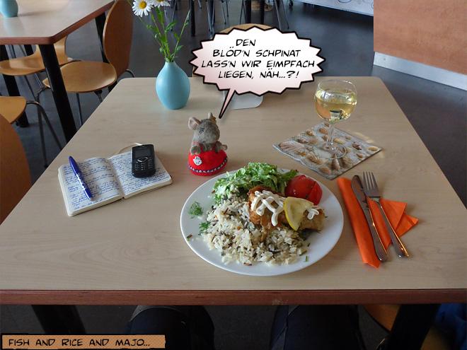 Teller mit Essen im Lokal