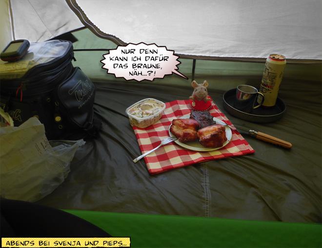 Picknick Essen im Zelt