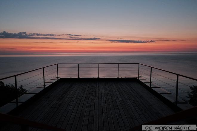Sommerwende Mitternacht Blick aufs Meer