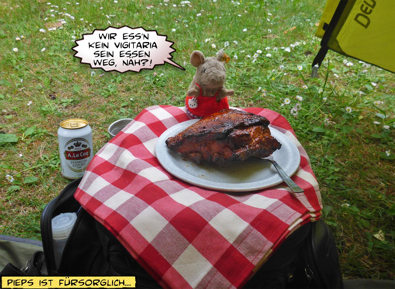 Schweinebraten auf dem Teller beim Camping