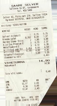 Kassenbon Estland Selver
