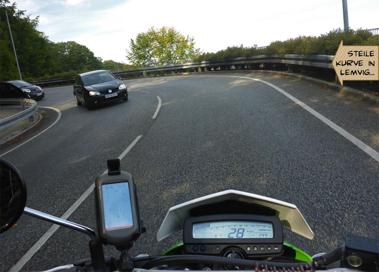 Kurve aus der Sicht eines Motorrads