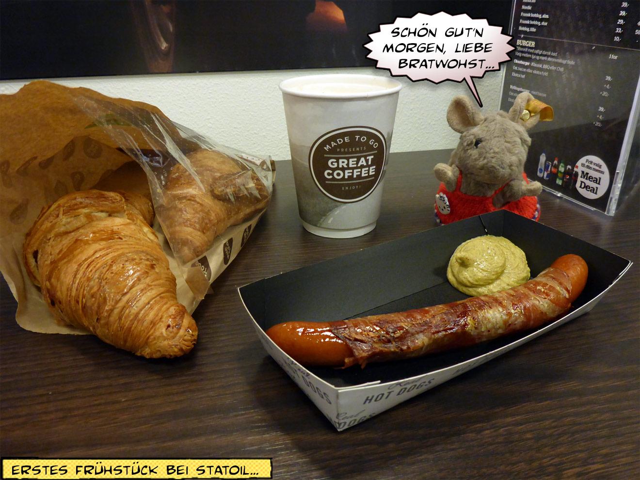 Hotdog und Croissants