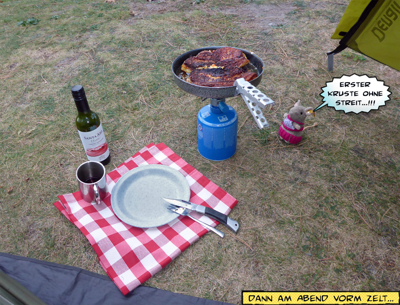 Campingküche braten vorm Zelt
