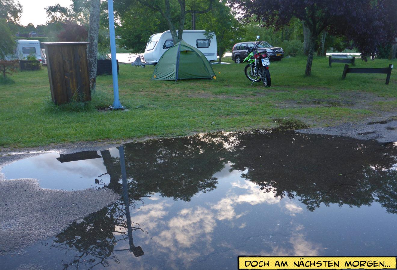 Zelt nach dem Regen