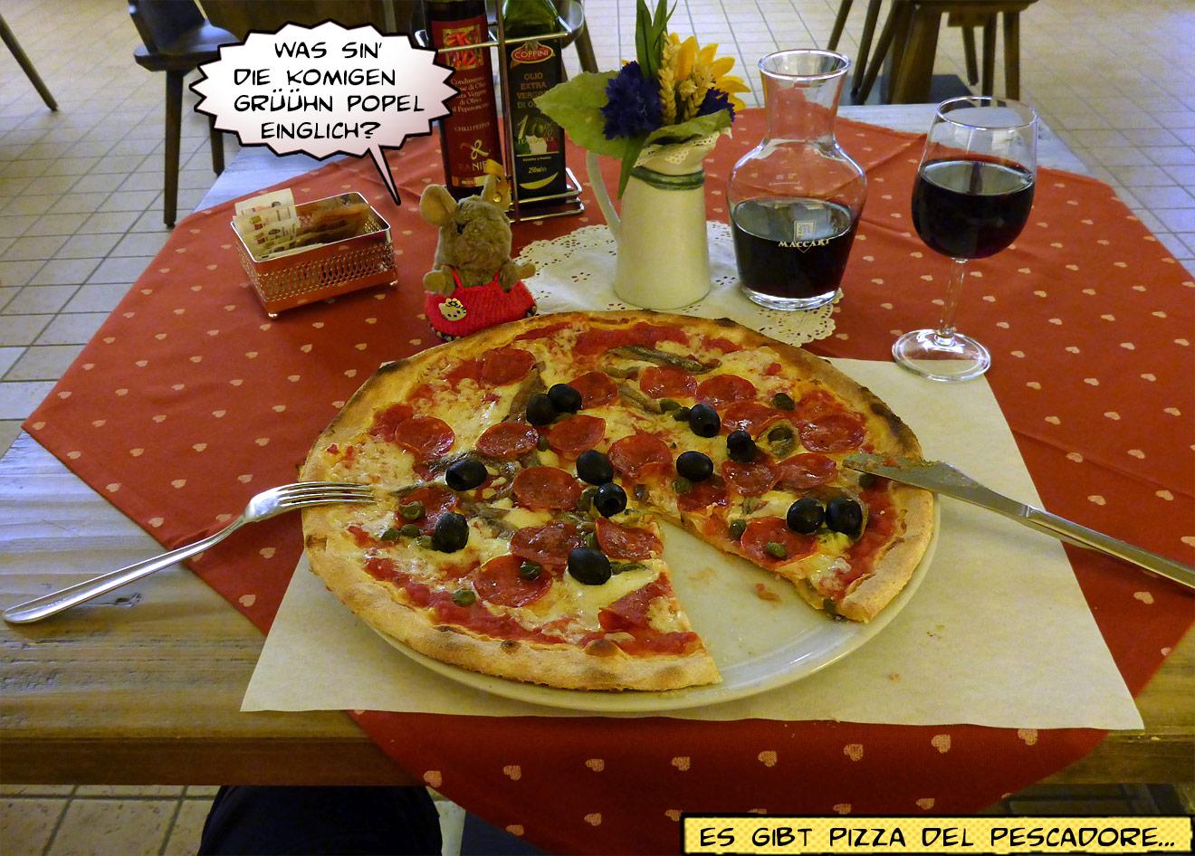 Pizza und Rotwein beim Italiener