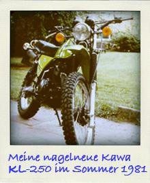 Svenjas neue Kawasaki KL250 1981