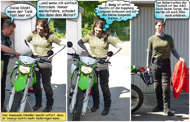 Svenjas Einweisung in die neue Kawasaki KLX250