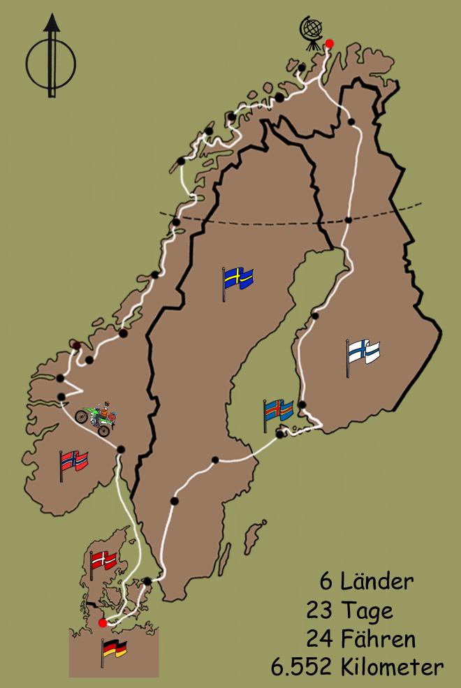 Reiseroute Nordkap Svenja Svendura