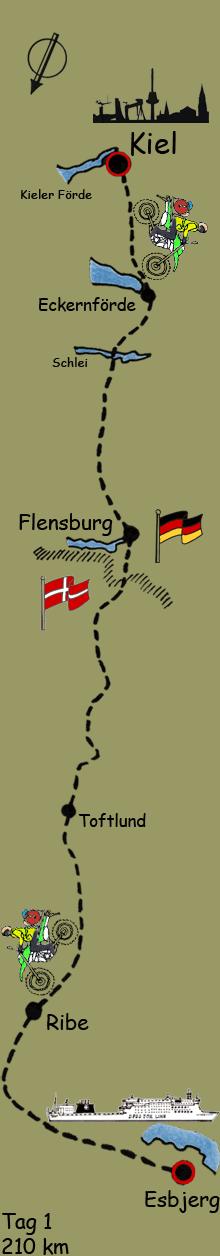 Reiseroute Tag 1 Kiel Esbjerg