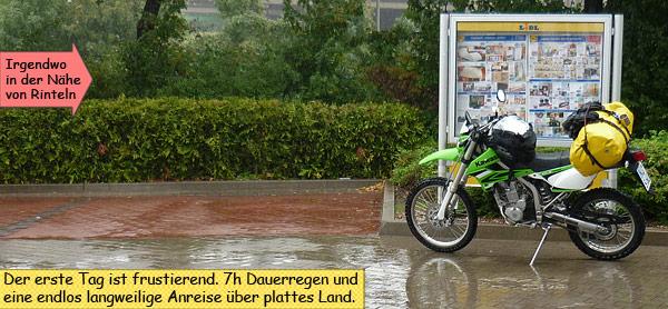 Sieben Stunden Fahrt im Regen