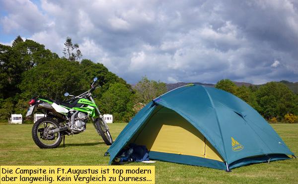 Fort Augustus Zelt und Motorrad