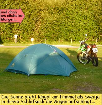 Enduro und Zelt in Schottland