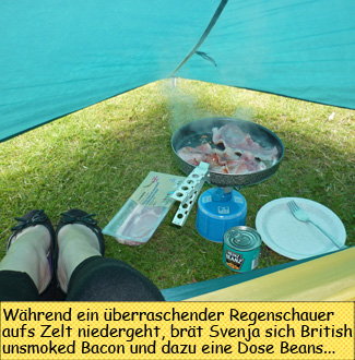 Camping Gaz Kochen im Zelt